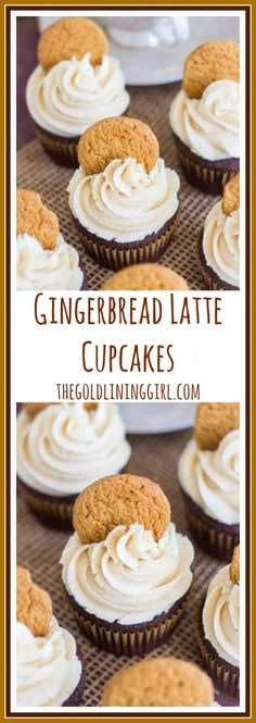 Gingerbread Latte Cupcakes with Brown Butter Buttercream. Gingerbread cupcakes, spiked with coffee, and topped with brown butter buttercream. Best Dessert Recipes, Cupcake Recipes, Easy Desserts, Baking Recipes, Delicious Desserts, Cupcake Cakes, Cupcake Ideas, Frosting Recipes, Muffin Recipes