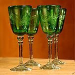 Etched wine glasses, Emerald Flowers (set of 4) 68.99