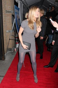 Jennifer Aniston The character was widely popular while the series aired and was later described as one of the greatest female characters in American television history. Aniston has since played starring roles in numerous comedies and romantic comedies. Jennifer Aniston Style, Jennifer Aniston Pictures, Jeniffer Aniston, John Aniston, Grey Tights, Rachel Green, In Pantyhose, Nylons, Tights Outfit