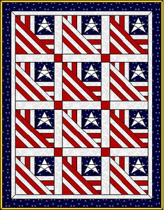Originally a wall hanging, this pattern can be doubled or tripled to make a great patriotic quilt.  What a wonderful piece to have for a July family picnic or fireworks show for the Fourth of July....