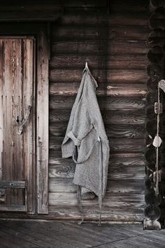 Linen Bathrobe, via Fine Little Day, by Anu Leinonen and Lapuan Kankurit Oy. Spa Sauna, Finnish Sauna, Mountain Living, Saunas, Cabins And Cottages, Cabins In The Woods, The Ranch, Line Design, Decoration