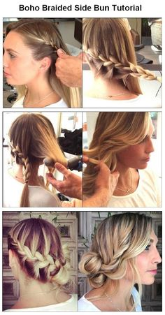 The Best Useful Hair Tutorials Ever, Boho Braided Side Bun For Hair - Hair style Up Hairstyles, Pretty Hairstyles, Braided Hairstyles, Wedding Hairstyles, Style Hairstyle, Braided Updo, 1950s Hairstyles, Bun Updo, Hairdos