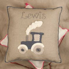 Great child's gift with a traditional twist. Navy blue colour of the tractor looks great on this pure grey linen. A treasured gift for every small boy.