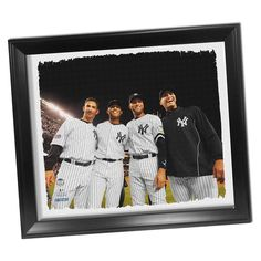 New York Yankees Core Four Framed Stretched 22x26 Canvas - This Beautifully Framed Breathtaking Stretched Canvas of the core four is the perfect way to take your man cave to the next level. This piece is hand-created exclusively at Steiner Sports Headquarters in New Rochelle NY and is professionally printed on an extremely high quality 20-mil thick mid-gloss canvas. The canvas will arrive pre-stretched and ready to hang on your wall in a one-of-a-kind display where the canvas itself is…