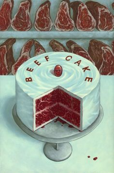 Beef Cake - Casey Weldon - inspired by Wayne Thiebaud's cake paintings - part of Sweet Hot Mess show - curated by Rudy Fig and Katie Carpenter