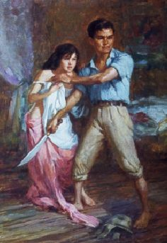 Fernando Amorsolo's 1945 Defense of a Filipina Woman's Honour. Here, a Filipino man defends a woman from being raped by a Japanese soldier. Filipino Art, Filipino Culture, Philippine Art, Philippines Culture, Vintage Artwork, New Artists, Beautiful Paintings, Painting Inspiration, Sketches
