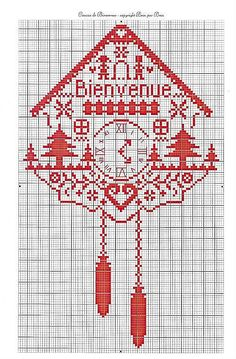 Beautiful would love this is gabis room with a real working clock mechanism. Santa Cross Stitch, Cross Stitch House, Cross Stitch Kitchen, Cross Stitch Samplers, Cross Stitch Charts, Cross Stitch Designs, Cross Stitching, Cross Stitch Patterns, Diy Embroidery