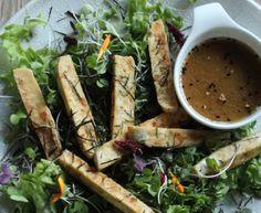 Crispy Tofu Salad with Wasabi dressing Cooking Classes, Cooking Time, Micro Herbs, Tofu Salad, Crispy Tofu, Japanese Food, Japanese Recipes, Kitchen Recipes, Fresh Rolls