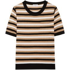 Sonia Rykiel Metallic striped knitted top (29.930 RUB) ❤ liked on Polyvore featuring tops, gold, metallic top, sonia rykiel top, shimmer tops, striped top and beige top