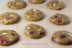 Prot: 8 g, Carbs: 7 g, Fat: 5 g, Cal: 98 -- Chewy and delicious Pistachio Cranberry Protein Cookies! Another high-protein, gluten-free treat from Andréa's Protein Cakery.