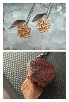 leather tiny flowers necklace kobana by kikosattic on Etsy