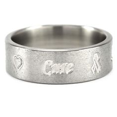 7mm Hope, Faith, Love, Cure, milled ring featuring a stunning Stone polish, sold on Renaissance Fine Jewelry.