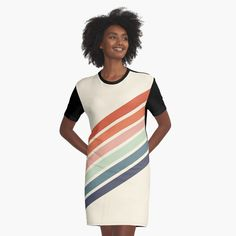 """""""Retro Stripes 70s Style"""" Graphic T-Shirt Dress by ind3finite 