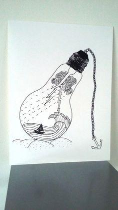 """Affiche Illustration Noir et blanc ampoule """"Jours de tonnerre """""""
