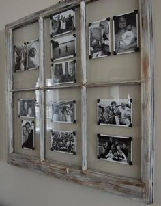 use old window frames and photo corners to create a rotating display of photos. … use old window frames and photo corners to create a rotating display of photos. using black white images creates a cohesive grouping. Old Window Projects, Home Projects, Old Window Frames, Window Panes, Old Window Ideas, Window Pane Decor, Ideas With Old Windows, Window Pane Crafts, Window Frame Art