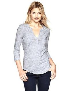 Military pocket heathered henley - nice basic top for fall