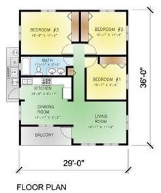 Modern Style House Plan - 3 Beds 1 Baths 974 Sq/Ft Plan #495-3 Main Floor Plan - Houseplans.com