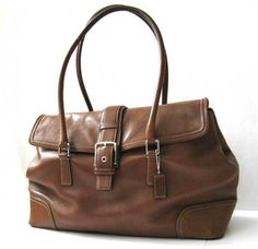COACH LEATHER HANDBAG 16in L x 10in H LARGE VINTAGE COACH BROWN TOTE *LOVELY* #Coach #ShoulderBag