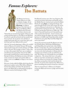 Fifth Grade Comprehension History Worksheets: Ibn Battuta