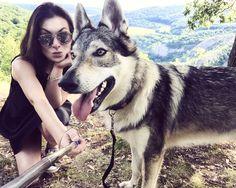 Wolfdog Maya & I on sv. Jan cliff, Central Bohemia. Travel with us on www.travelwithmaya.com :)