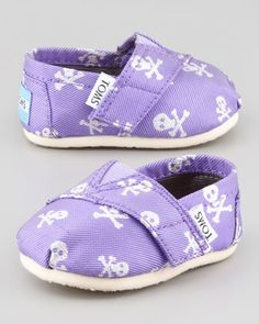 Purple Grosgrain-Skull Slip-On, Tiny  by TOMS at Bergdorf Goodman. Maybe for Christmas for Lily?!