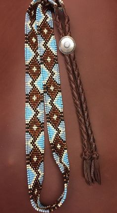 NATIVE DESIGN Handmade Beaded HAT BAND BLUE BROWN STERLING CONCHO Braided Deer