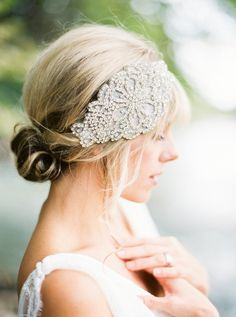 Glam bridal headband. Bride La Boheme.  - photo by http://www.loftphotography.com/