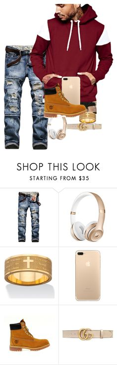 """Untitled #856"" by jadab521 ❤ liked on Polyvore featuring Palm Beach Jewelry, Timberland, Gucci, men's fashion and menswear"