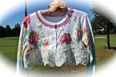 Boho Romantic Roses Sweater Shrug ,Cropped Shabby Chic, Mori Girl, Forest Girl, Dolly Kei ,Lace Romance,Medium by IzzyRoo on Etsy