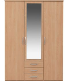 Buy New Hallingford 3 Dr 3 Drw Mirrored Wardrobe - Beech Effect at Argos.co.uk - Your Online Shop for Wardrobes.