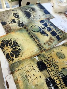 Donna Downey - 'Metamorphosis' Using muslin fabric as your substrate, you will begin building structural layers by adding thin layers of joint compound and wet mediums giving your pages a textural, sculpted feel.