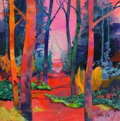 Mixed media acrylic collage, A Walk in the Woods by Colorado contemporary painter Carol Nelson Carol Nelson Fine Art, painting by artist Carol Nelson