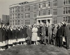 "Breaking ground for Deaconess Hospital. ""Central Building"" was later renamed the Farr Building."