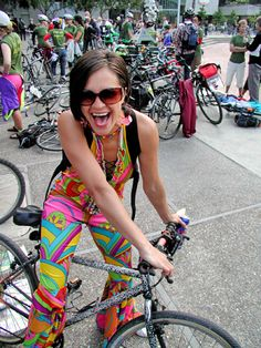 Pucci inspired, jumpsuit with flared leg bottoms. Jumpsuits are fun to wear on your bicycle!