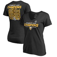 0819e3ed8 Pittsburgh Penguins Women s Black 2016 Stanley Cup Champions Roster V-Neck  T-Shirt Pittsburgh