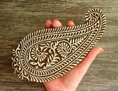 Hand Carved Wood Stamp: Large Indian Paisley Stamp, Flower Printing Block, Handmade Wooden Stamp, Textile Pottery Clay Ceramics Stamp, Décor, by DelhiDaze, $30.00