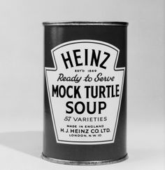 A close-up of a tin of Heinz ready-to-serve mock turtle soup in 1961. A 19th-century British peculiarity, mock turtle soup, used a calf's head instead of turtle. The character of the mock turtle in Alice in Wonderland, which has the body of a turtle and the head of a calf, sums this up nicely.