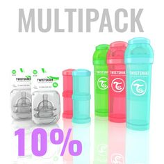 47.98€ Multipack with 3x 330ml/11oz Twistshake bottles, 2x Powder boxes, 2x teats