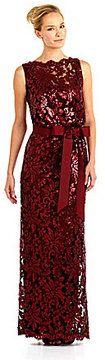 Tadashi Sleeveless Sequin-Lace Blouson Gown on shopstyle.com