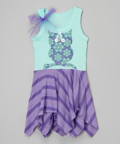 Ruby and Rosie Purple Owl Handkerchief Dress - Infant, Toddler & Girls | zulily