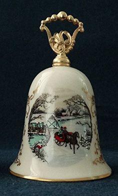 Vintage 1983 Gorham Fine China Porcelain Christmas Scene Bell - Winter Wonderland Gorham