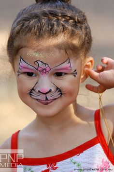 Cute and simple Kitty Face Paint ❤'d by http://makeupartistrycairns.com.au