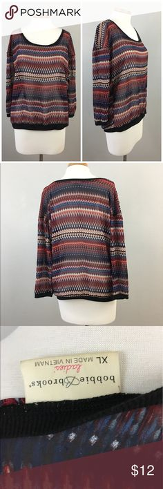 Bobbie Brooks Boho Semi Sheer Long Sleeve Top Bobbie Brooks Boho Semi Sheer Long Sleeve Top. Size XL.  Thank you for looking at my listing. Please feel free to comment with any questions (no trades/modeling).  •Condition: EUC, no visible flaws.   ✨Bundle and save!✨10% off 2 items, 20% off 3 items & 30% off 5+ items! JC bobbie brooks Tops Blouses