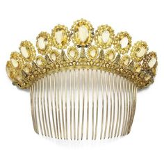 Antique Tiara-Comb (19th c; citrines, pearls, gold, silver-gilt).