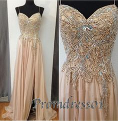 Cute side slit champagne chiffon prom dress with beautiful top details, long ball gown with straps #coniefox