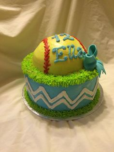 Softball and chevron pattern birthday cake by Inphinity Designs