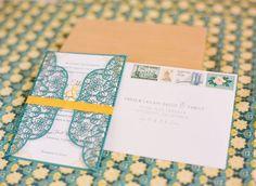 DIY wedding invitations #blue #yellow