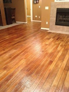 Stained Concrete Looks Like Hardwood Wood Floor Stamped Decorative Finished