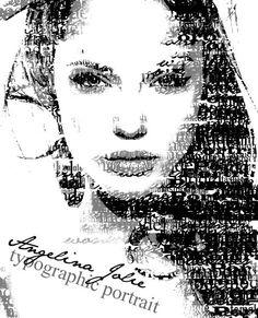 Angelina Jolie typographic portrait by Blinkt on DeviantArt Typography Ads, Typography Portrait, Hatch Art, Text Portrait, Word Drawings, A Level Art, Feminist Art, Typography Inspiration, Letter Art