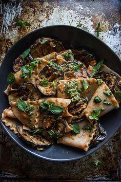 Pasta with Grilled Eggplant, Smoky Tomato Sauce and Basil Walnut Pistou